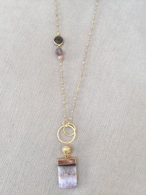 Amethyst Pendant with Gold Detail & Gemstone Rosary Chain
