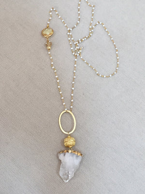 Raw Crystal Pendant Necklace with Pearl Rosary Chain