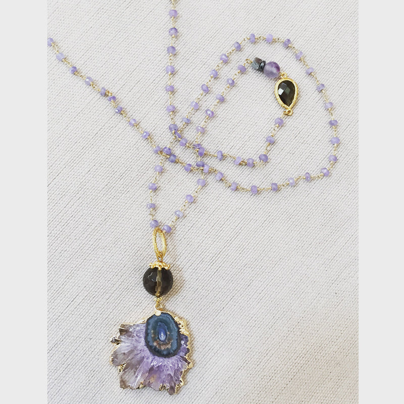 Oversized Raw Druzy Rosary Necklace with Druzy Pendant