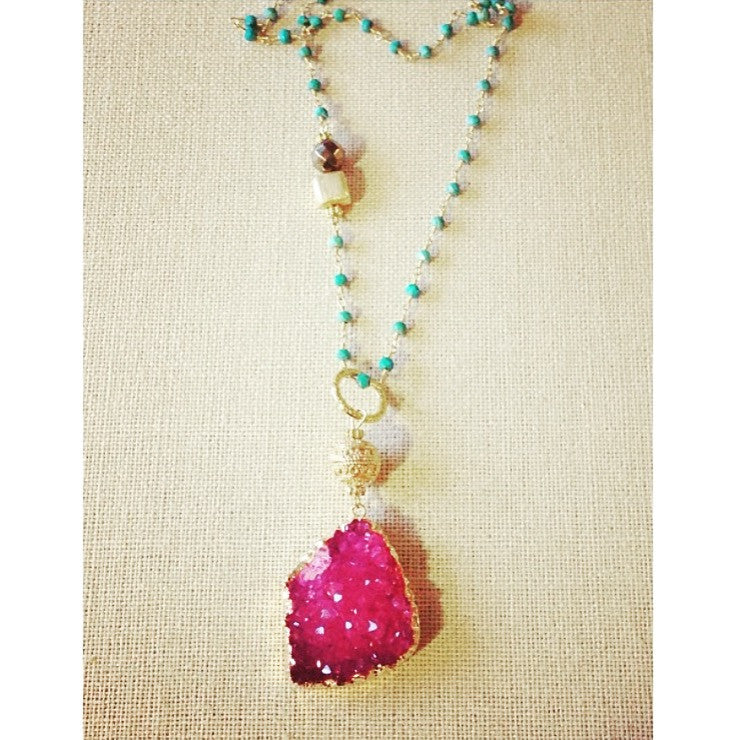Pink Druzy Pendant with Turquoise Rosary Chain