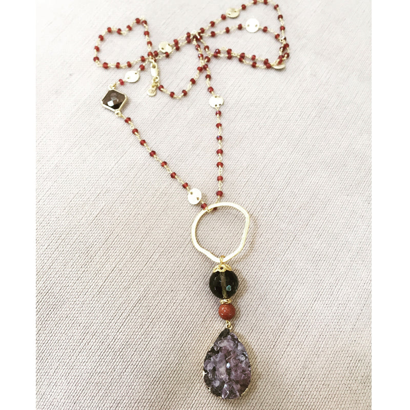 Druzy Pendant Necklace with Sandstone & Smokey Quartz