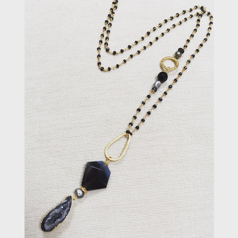 Black Agate Pendant with Pearl & Onyx Connector