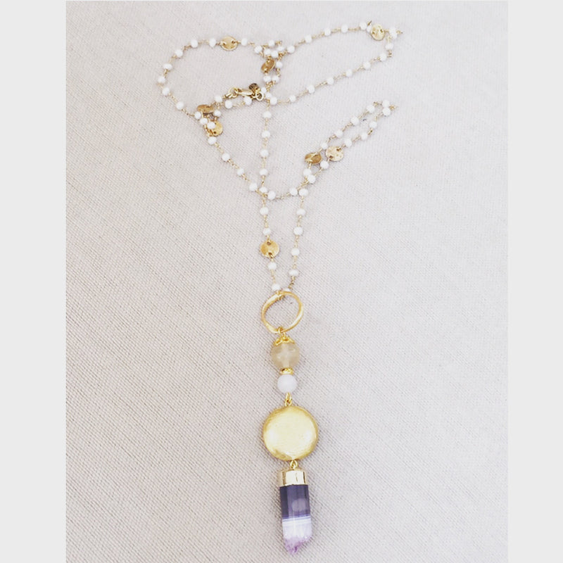 Amethyst Cylinder Pendant Necklace with Pearl Rosary Chain