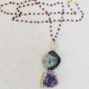 Amethyst Druzy Pendant Necklace with Rosary Chain