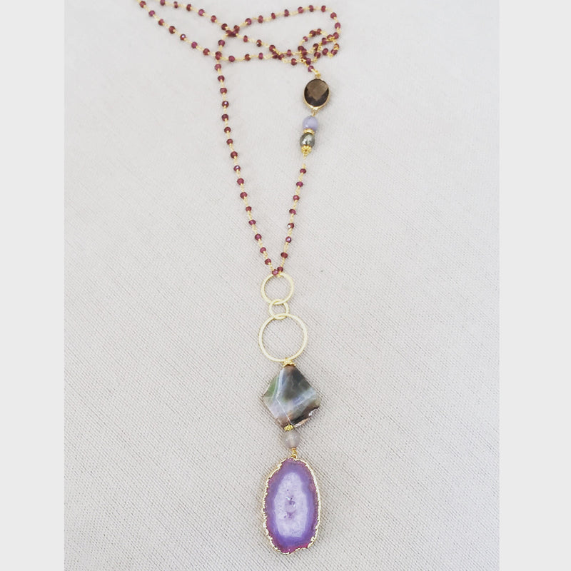 Gold Plated Agate Pendant Necklace with Gemstones