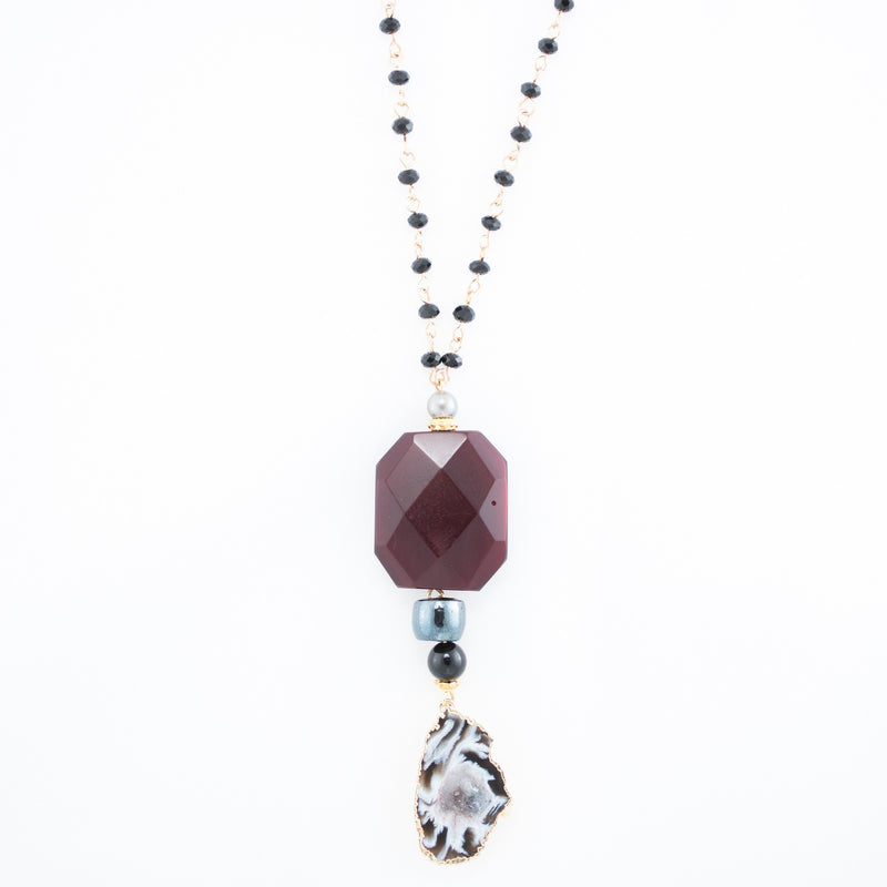 Agate Slice with Garnet & Onyx Necklace