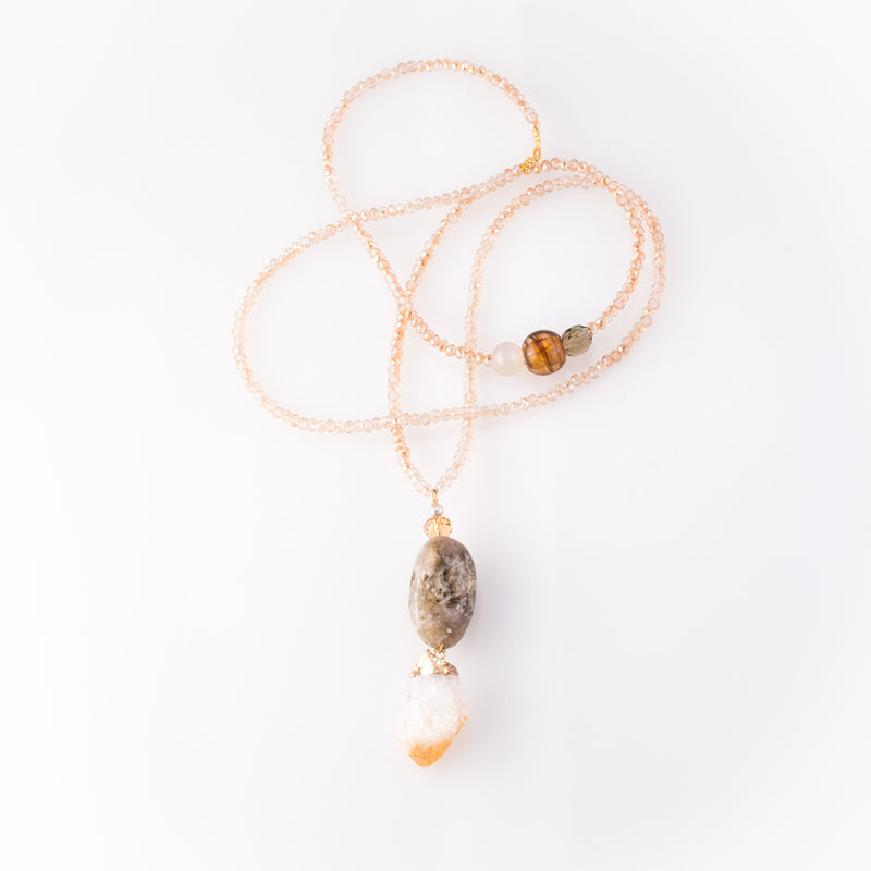 Citrine & Jasper Pendant Necklace