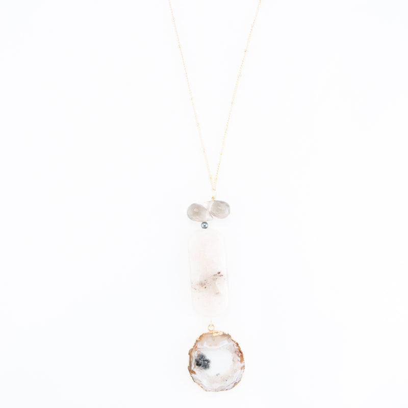 Agate Slice & Quartz Pendant Necklace