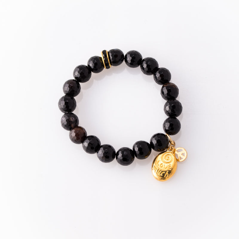 Laugh Often, Love Much, Create Peace Agate Bracelet