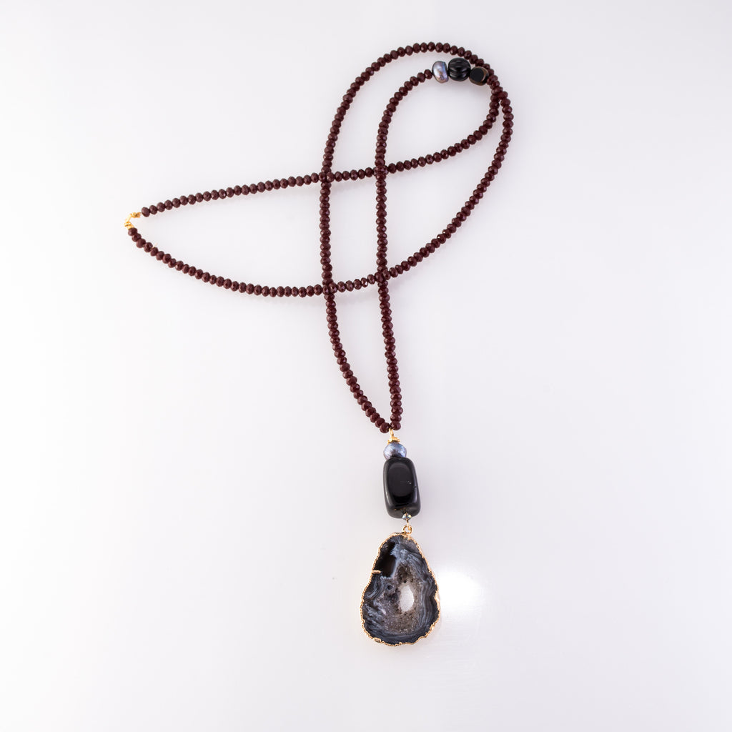 Sliced Agate Double Pendant Necklace
