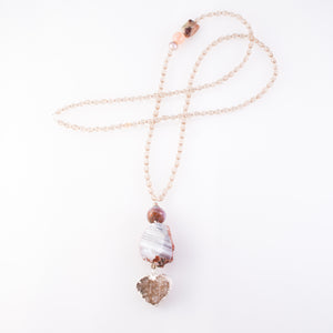 Heart Shaped Druzy Quartz Triple Pendant Necklace