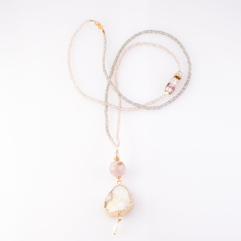 Druzy Quartz Double Pendant Necklace