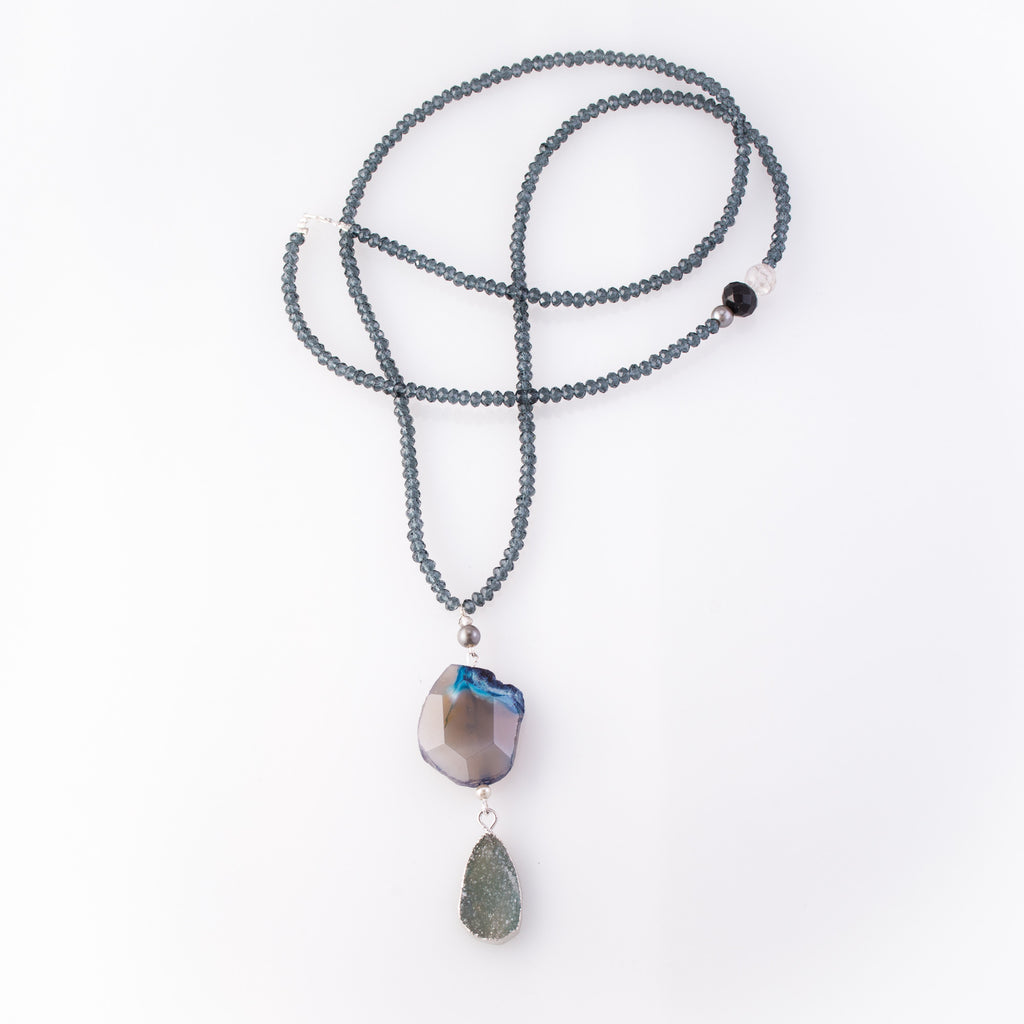 Druzy Quartz & Lapis Double Pendant Necklace