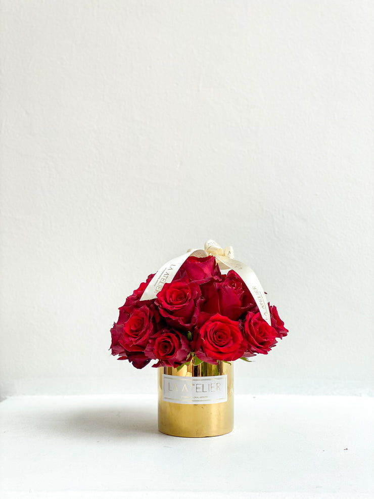 Timeless Rouge Roses in Gold Vase - LA ATELIER SINGAPORE