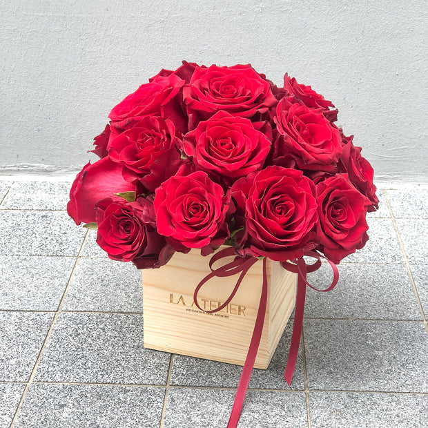 Timeless Rouge Blooms in Pine Box