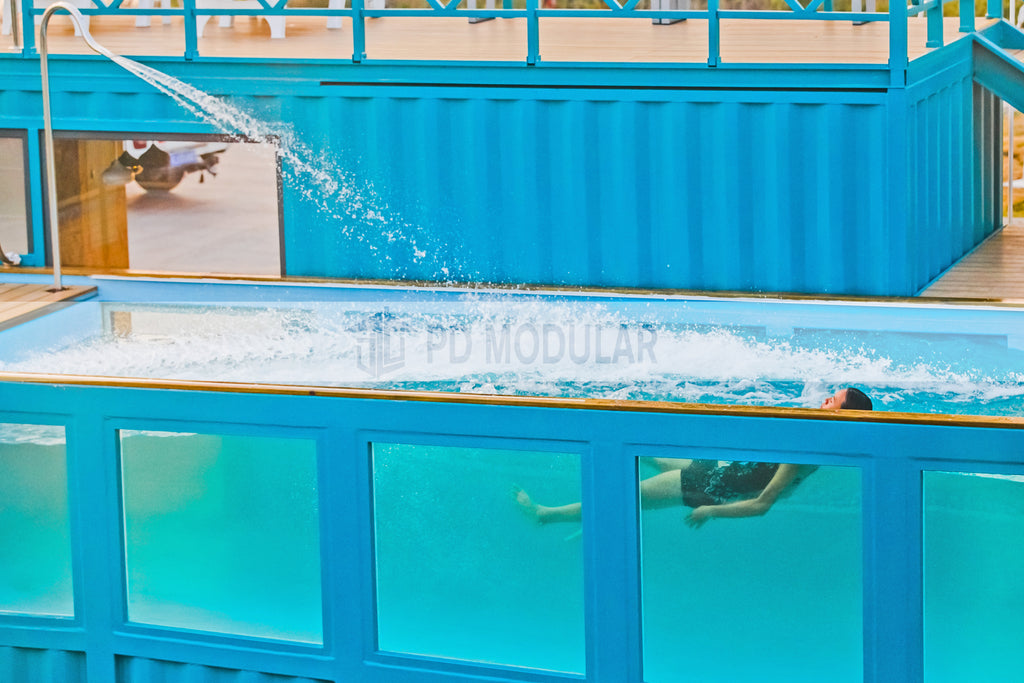 Prefab portable shipping container swimming pool with bar