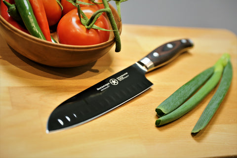 "Sternsteiger Titanium Series 7""/18cm Santoku Knife with hollow Edge"