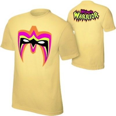 Ultimate Warrior WWE Authentic Parts Unknown Mens Yellow T-shirt