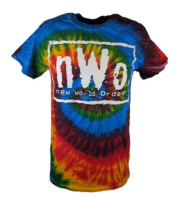 nWo White Logo Tie Dye New World Order Mens T-shirt