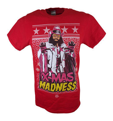 Macho Man Randy Savage X-mas Madness WWE Mens Red T-shirt