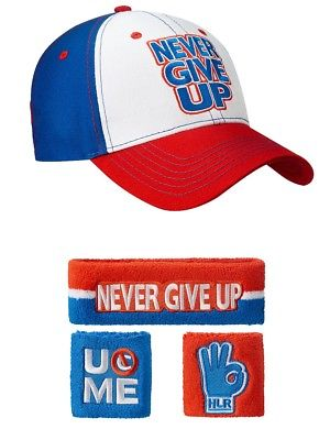 John Cena Red White Blue Never Give Up Baseball Hat Headband Wristband Set