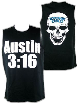 Stone Cold Steve Austin Sleeveless 3:16 White Skull Mens Black T-shirt