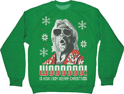Ric Flair Green WWE Ugly Christmas Mens Sweater Sweatshirt