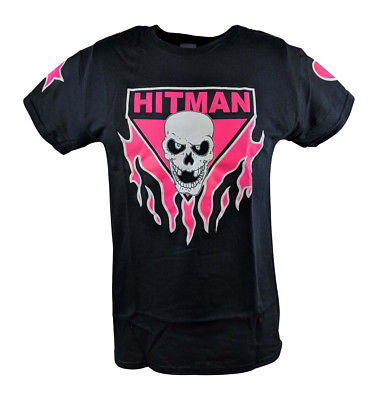 Bret Hart Ring Series Black Pink Skull Mens T-shirt