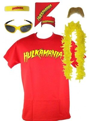 Hulk Hogan Hulkamania Red T-shirt Bandana Beard Boa Glasses Costume