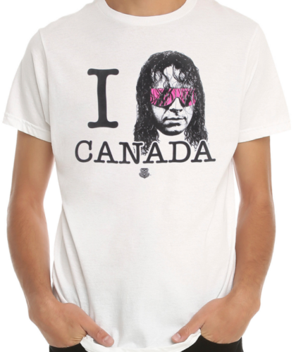 Bret Hart I Heart Canada WWE Mens Lightweight White T-shirt