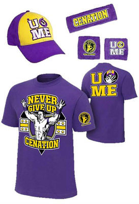 John Cena Kids Purple Costume Hat T-shirt Wristbands Boys