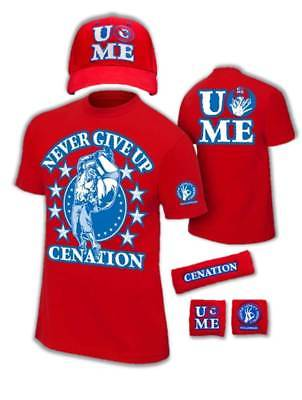 John Cena Mens Red Costume Hat T-shirt Wristbands
