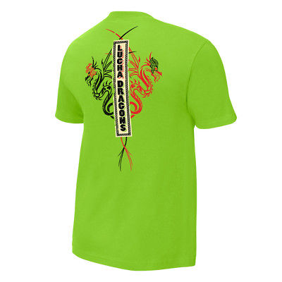 Lucha Dragons Kalisto Sin Cara WWE Authentic Mens Green T-shirt