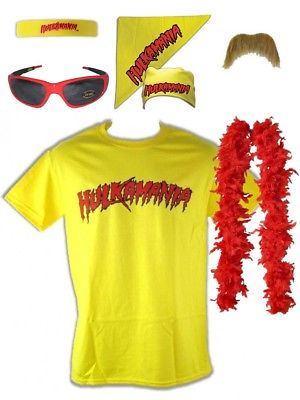 Hulk Hogan Hulkamania Yellow T-shirt Bandana Beard Boa Glasses Costume
