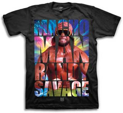 Macho Man Randy Savage Allover WWE Mens Black T-shirt