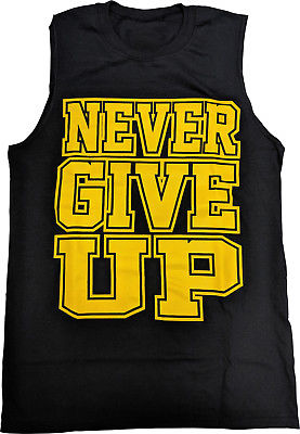 John Cena Never Give Up Blue Sleeveless Muscle T-shirt