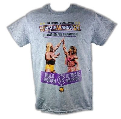 Wrestlemania 6 Hulk Hogan Ultimate Warrior Mens Gray T-shirt