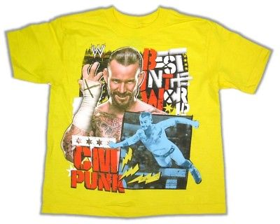 CM Punk Boys Kids Yellow GTS WWE T-shirt