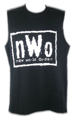 nWo White Logo Sleeveless Black Muscle T-shirt Mens