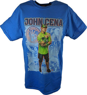 John Cena The Champ Collage WWE Mens Blue T-shirt