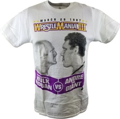 Wrestlemania 3 Hulk Hogan Andre the Giant Mens White T-shirt