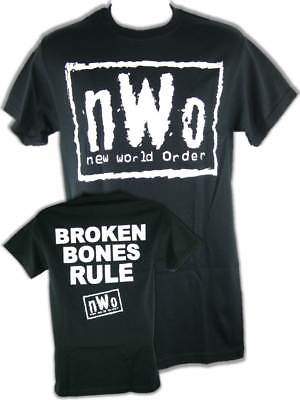 nWo Broken Bones Rule New World Order White Logo Mens T-shirt