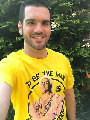 Ric Flair To Be The Man You Gotta Beat The Man WWE Mens Yellow T-shirt
