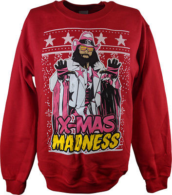 Macho Man Randy Savage Ugly X-mas Madness Red Christmas Mens Sweater