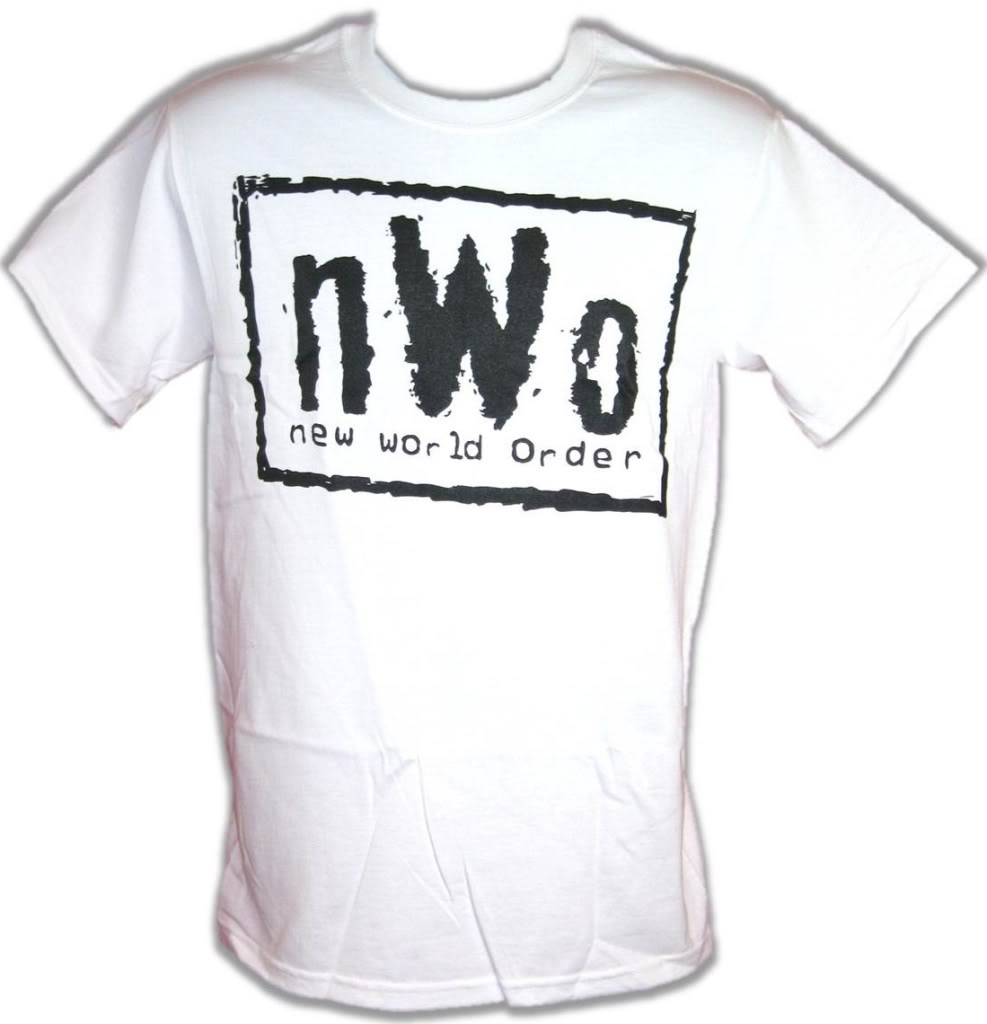 nWo New World Order White WCW T-shirt with Black Logo