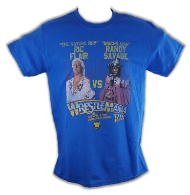 Wrestlemania 8 Ric Flair vs Macho Man Randy Savage WWE Mens T-shirt