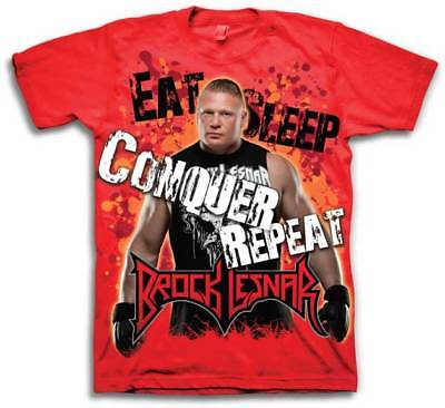 Brock Lesnar Eat Sleep Conquer Repeat WWE Mens Red T-shirt