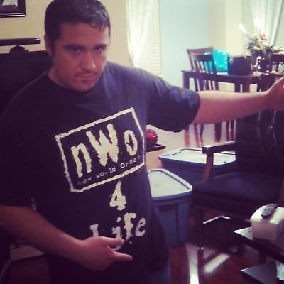 nWo 4 Life WCW White Logo Mens Black T-shirt