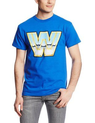 WWE Retro Logo Mens Royal Blue T-shirt