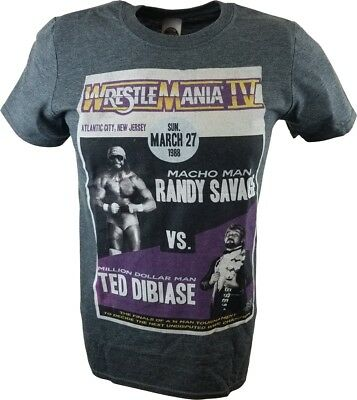 Wrestlemania 4 IV Macho Man Randy Savage vs Million Dollar Man WWE Mens Grey T-s